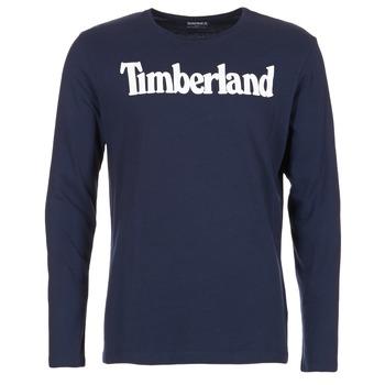 textil Herre Langærmede T-shirts Timberland LINEAR LOGO PRINT RINGER Marineblå