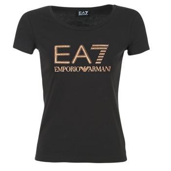 textil Dame T-shirts m. korte ærmer Emporio Armani EA7 TRAIN LOGO SERIES GLITTER Sort / GYLDEN / Pink