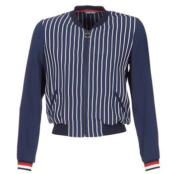 textil Dame Jakker / Blazere Tommy Hilfiger NALOME GLOBAL STP BOMBER Marineblå / Hvid / Rød