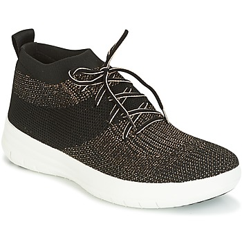 Sko Dame Høje sneakers FitFlop UBERKNIT SLIP-ON HIGH TOP SNEAKER Sort / Bronze