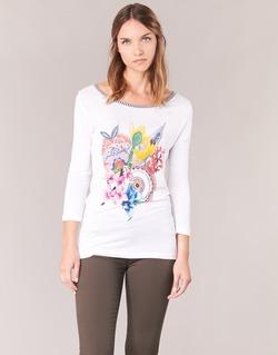 textil Dame Langærmede T-shirts Desigual TERON Hvid