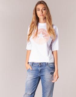 textil Dame T-shirts m. korte ærmer Converse SATIN CP MOCK NECK TEE Hvid