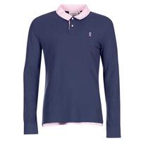 textil Herre Polo-t-shirts m. lange ærmer Vicomte A. POLO HOMME ML BICOLORE ECLIPSE FW17 Blå
