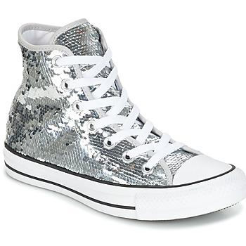 Sko Dame Høje sneakers Converse CHUCK TAYLOR ALL STAR SEQUINS HI SILVER/WHITE/BLACK Sølv