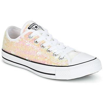 Sko Dame Lave sneakers Converse CHUCK TAYLOR ALL STAR SEQUINS OX WHITE/BLACK/WHITE Hvid / Pailleter