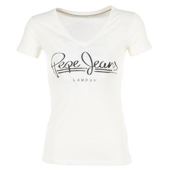 textil Dame T-shirts m. korte ærmer Pepe jeans BRENDA Hvid