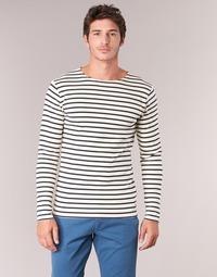 textil Herre Langærmede T-shirts Armor Lux GELGA Hvid / Marineblå