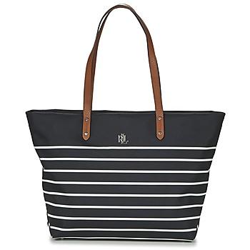 Tasker Dame Shopping Lauren Ralph Lauren BAINBRIDGE TOTE Sort / Hvid