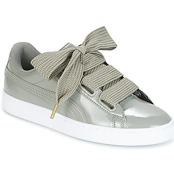 Sko Dame Lave sneakers Puma BASKET HEART PATENT W'S Grå
