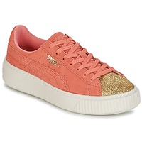 Sko Pige Lave sneakers Puma SUEDE PLATFORM GLAM JR Orange / Guld