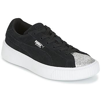 Sko Pige Lave sneakers Puma SUEDE PLATFORM GLAM PS Sort / Sølv