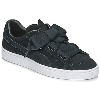 Sko Pige Lave sneakers Puma SUEDE HEART VALENTINE JR Sort