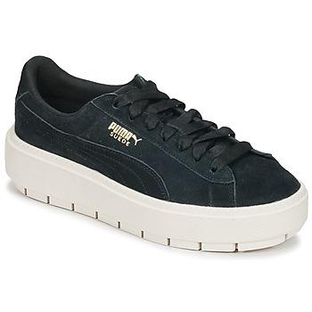 Sko Dame Lave sneakers Puma SUEDE PLATFORM TRACE W'S Sort / Hvid