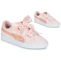 Sko Dame Lave sneakers Puma BASKET HEART CANVAS W'S Pink