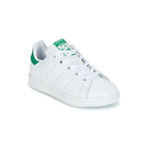 low priced bf75d 1e5ae Sko Børn Lave sneakers adidas Originals STAN SMITH C Hvid  Grøn