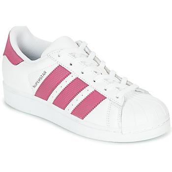 Sko Pige Lave sneakers adidas Originals SUPERSTAR J Hvid / Pink