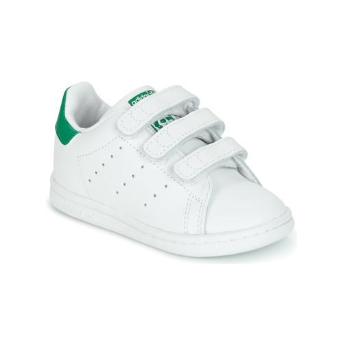 size 40 b437b de453 Sko Børn Lave sneakers adidas Originals STAN SMITH CF I Hvid  Grøn