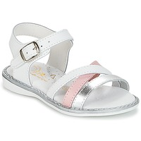 Sko Pige Sandaler Citrouille et Compagnie IZOEGL Hvid / Sølv / Pink