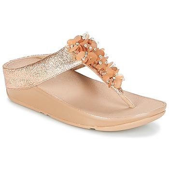 Sko Dame Flip flops FitFlop BOOGALOO TOE POST Pink / Guld