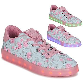 Sko Pige Lave sneakers Geox J KOMMODOR G. B Blå / Pink