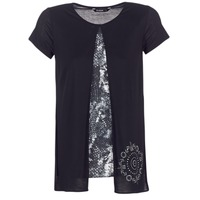 textil Dame T-shirts m. korte ærmer Desigual NUTILAD Sort