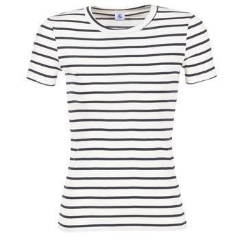 textil Dame T-shirts m. korte ærmer Petit Bateau  Hvid / Marineblå