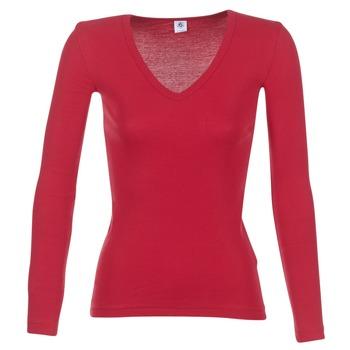 textil Dame Langærmede T-shirts Petit Bateau  Rød
