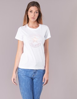 textil Dame T-shirts m. korte ærmer Converse CONVERSE CLEAR FOIL CHUCK PATCH CREW TEE Hvid