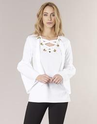 textil Dame Toppe / Bluser MICHAEL Michael Kors POPLIN GRMT LCE UP T. Hvid