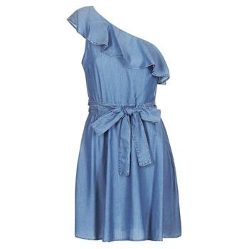 textil Dame Korte kjoler MICHAEL Michael Kors ONE SHLDR RUFFLE DRS Denim