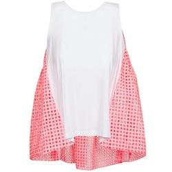 textil Dame Toppe / T-shirts uden ærmer Manoush AJOURE CARRE Hvid / Pink