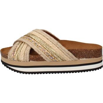 Sko Dame badesandaler 5 Pro Ject sandali beige tessuto oro AC586 Beige