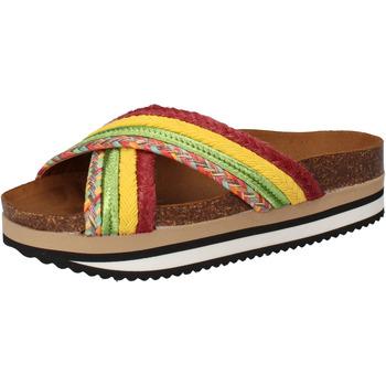 Sko Dame badesandaler 5 Pro Ject sandali verde tessuto giallo AC589 Multicolore