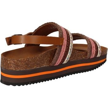 Sko Dame Sandaler 5 Pro Ject sandali rosa tessuto marrone AC592 Rosa