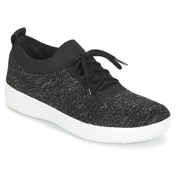 Sko Dame Lave sneakers FitFlop F SPORTY UBERKNIT SNEAKERS CRYSTAL Sort