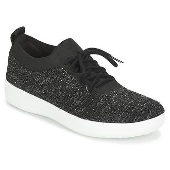 Sko Dame Lave sneakers FitFlop F SPORTY UBERKNIT SNEAKERS CRYSTAL Sort