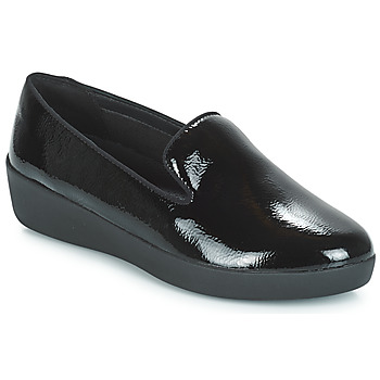 Sko Dame Mokkasiner FitFlop AUDREY SMOKING SLIPPERS CRINKLE PATENT Sort