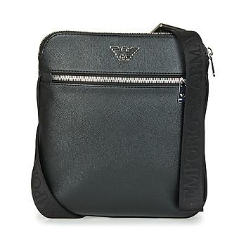 Tasker Herre Punge / Håndledstasker Emporio Armani BUSINESS FLAT MESSENGER BAG Sort