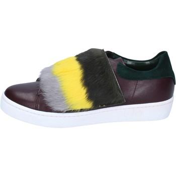 Sko Dame Sneakers Islo sneakers bordeaux pelle verde pelliccia BZ212 Multicolore