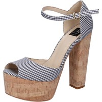 Sko Dame Sandaler Islo sandali nero tessuto bianco BZ223 Nero