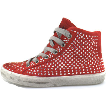 Sko Pige Høje sneakers Crime London sneakers rosso camoscio strass AH982 Rosso