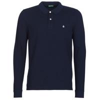 textil Herre Polo-t-shirts m. lange ærmer Benetton MAZARRI Marineblå