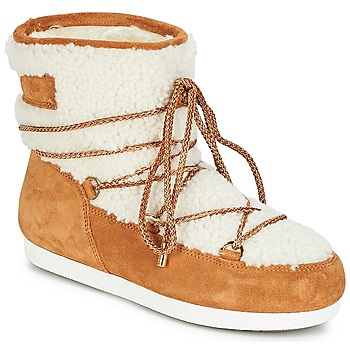 Sko Dame Vinterstøvler Moon Boot FAR SIDE LOW SHEARLING Cognac / Hvid