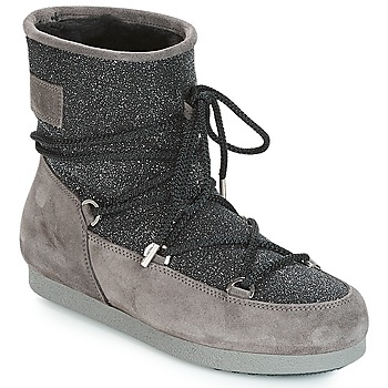 Sko Dame Vinterstøvler Moon Boot FAR SIDE LOW SUEDE GLITTER Sort / Grå