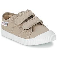 Sko Børn Lave sneakers Victoria BLUCHER LONA DOS VELCROS BEIGE