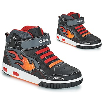 Sko Dreng Høje sneakers Geox JR GREGG Sort / Rød
