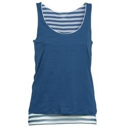 textil Dame Toppe / T-shirts uden ærmer Majestic BLANDINE Marineblå / Hvid