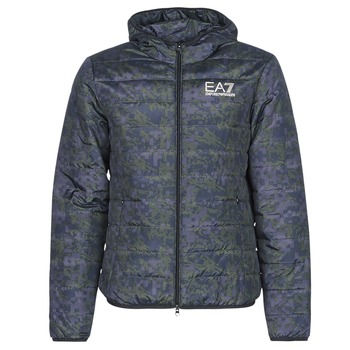 textil Herre Dynejakker Emporio Armani EA7 TRAIN GRAPHIC SERIES M JACKET HOODIE ALL OVER CAMOU Kaki / Blå