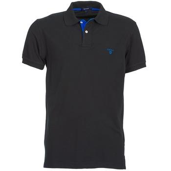 textil Herre Polo-t-shirts m. korte ærmer Gant CONTRAST COLLAR PIQUE SS RUGGER Sort