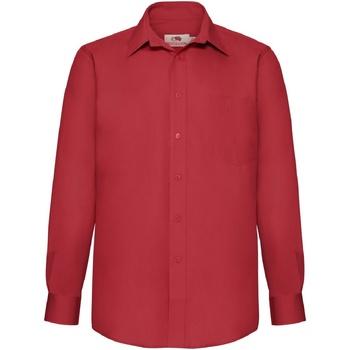 textil Herre Skjorter m. lange ærmer Fruit Of The Loom 65118 Red